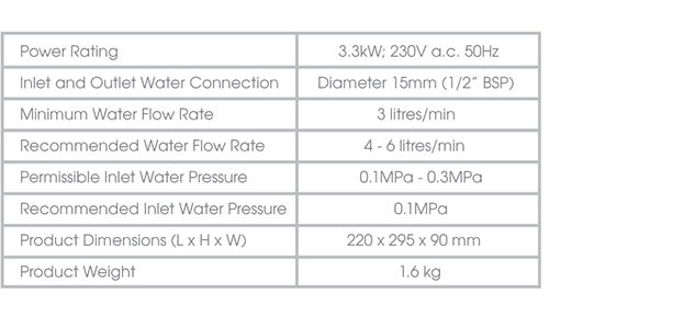 707 Alpine Water Heater Specification
