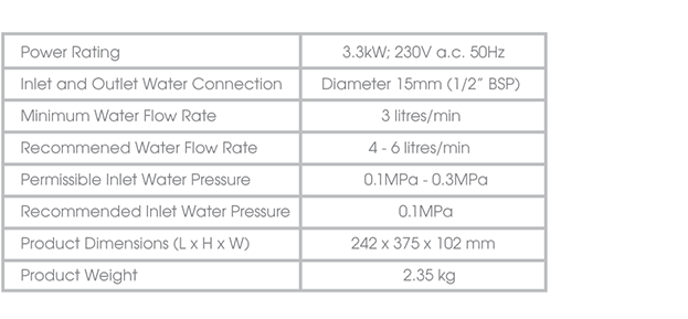 Princeton Water Heater specification